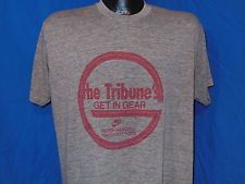 vtg 70s NIKE RAYON TRI BLEND TRIBUNE GET IN GEAR GREY RUN HEATHERED t-shirt XL