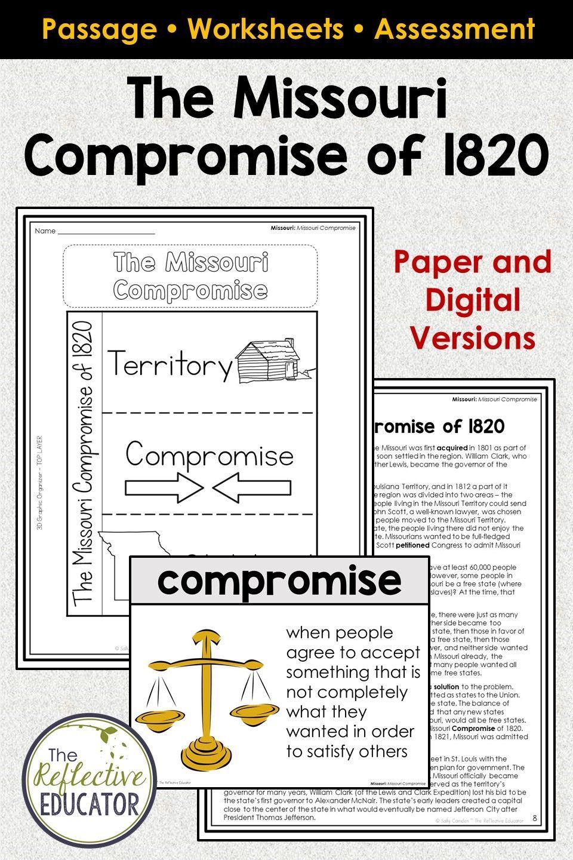 Missouri Compromise 1820 Missouri Social Studies In 2020 Social Studies Worksheets Elementary Social Studies Lessons Social Studies