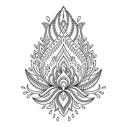 vektorgrafik henna tattoo flower template in indian style ethnic paisley lotus ornament. Black Bedroom Furniture Sets. Home Design Ideas