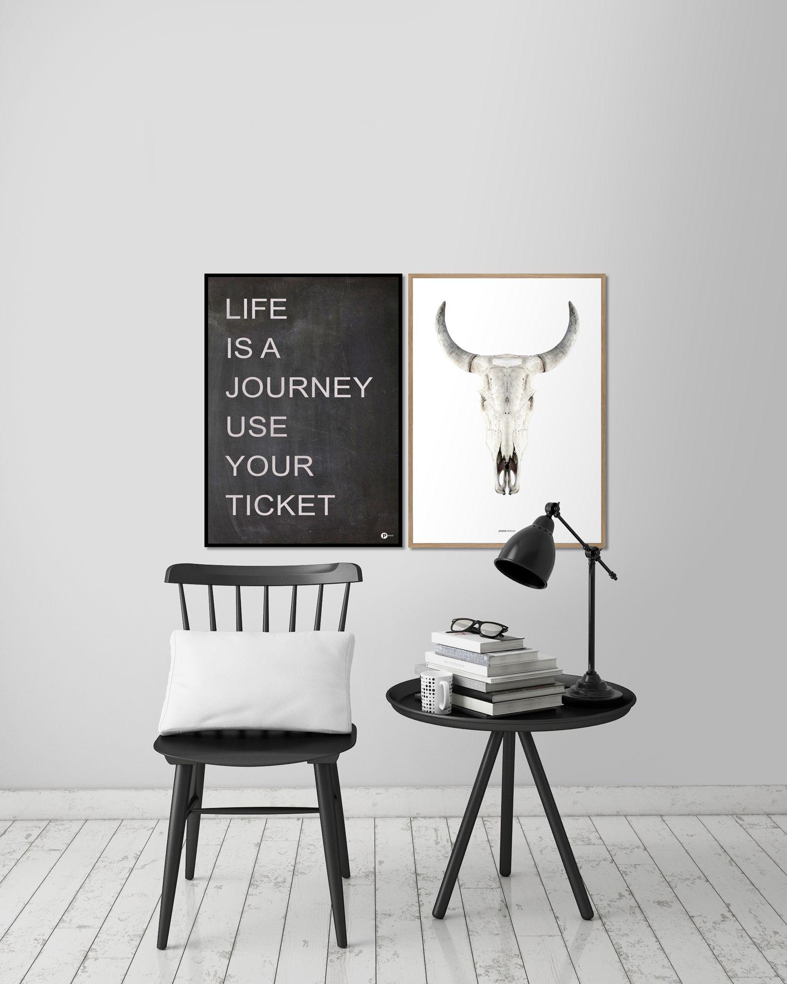 Fine art poster - cow skull   Wüstenlandschaft, Seidenpapier und Freude