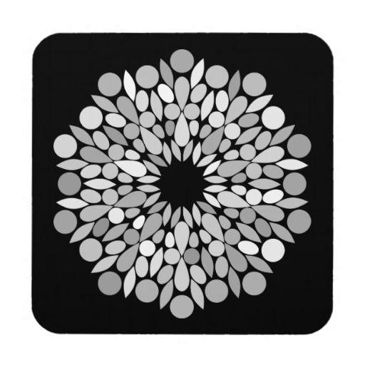 Black and White Medallion Pattern Drink Coaster  #blackandwhite #homedecor #geometric