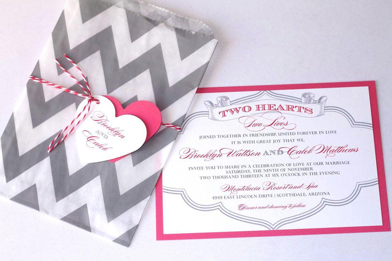 Brooklyn Wedding Invitation Sample - Chevron Design - Pink, Grey and ...