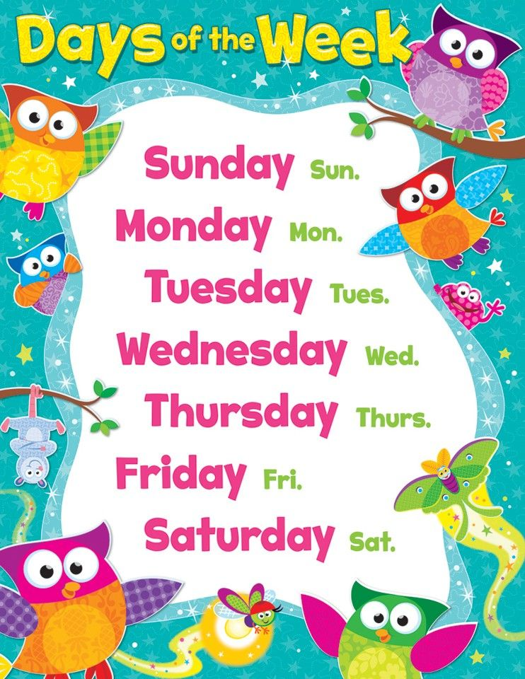 Owl-Stars Days of the Week Chart | Learning Displays | Owl-Stars ...