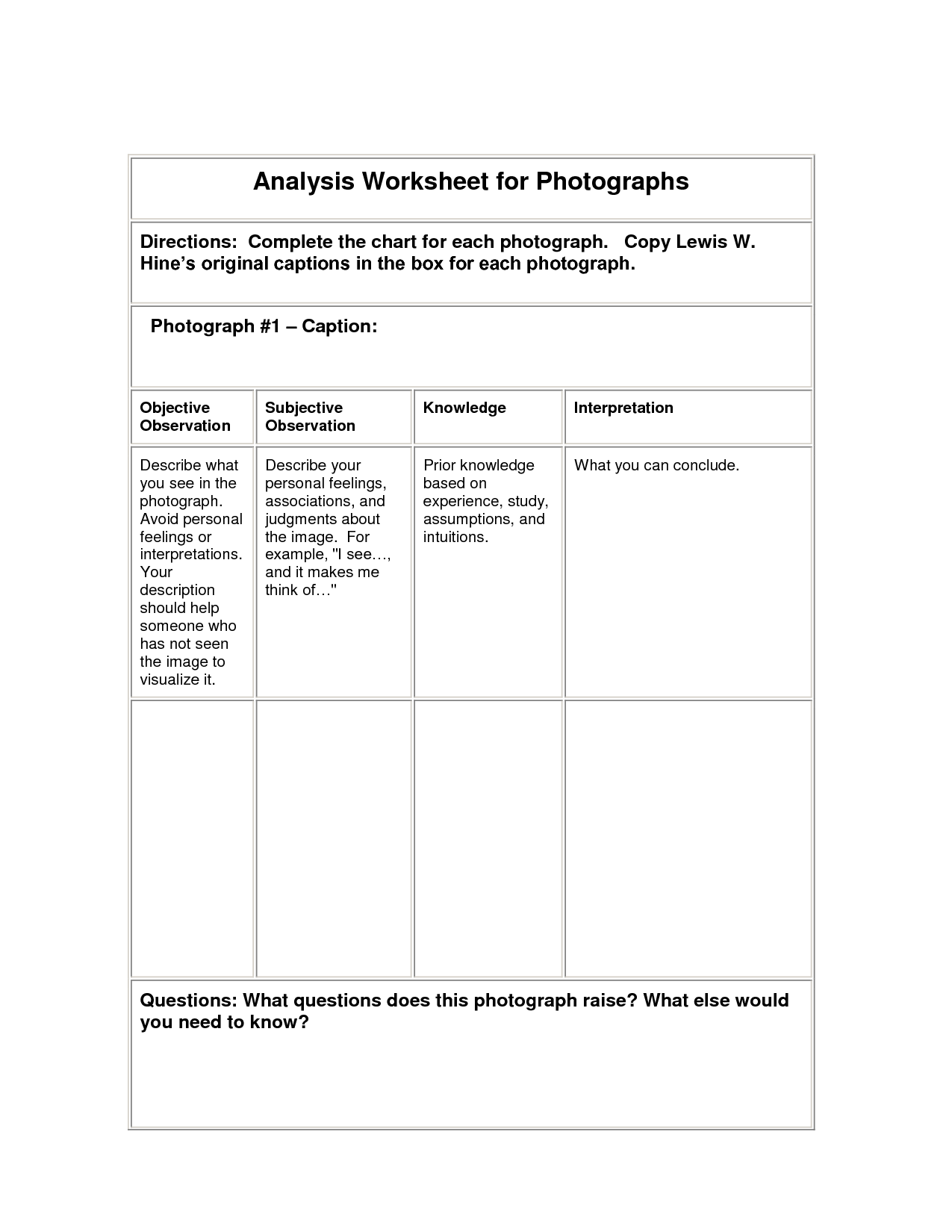 Analysis Worksheet For Lewis Hine Photographs Lewis Hine