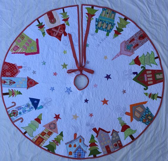 Ready To Ship Xl Applique Christmas Tree Skirt Whimsical Holiday Quilts Etsy Christmas Xmas Tree Skirts