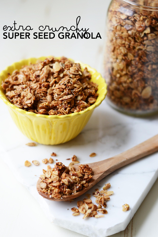 Extra crunchy super seed granola healthy breakfast