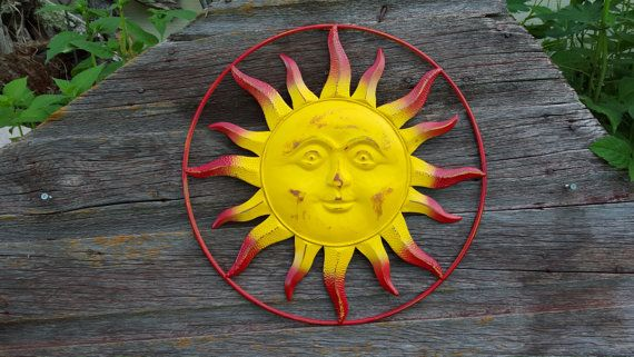 Celestial Fence Decor Metal Yard Art sunflower red yellow Outdoor ...