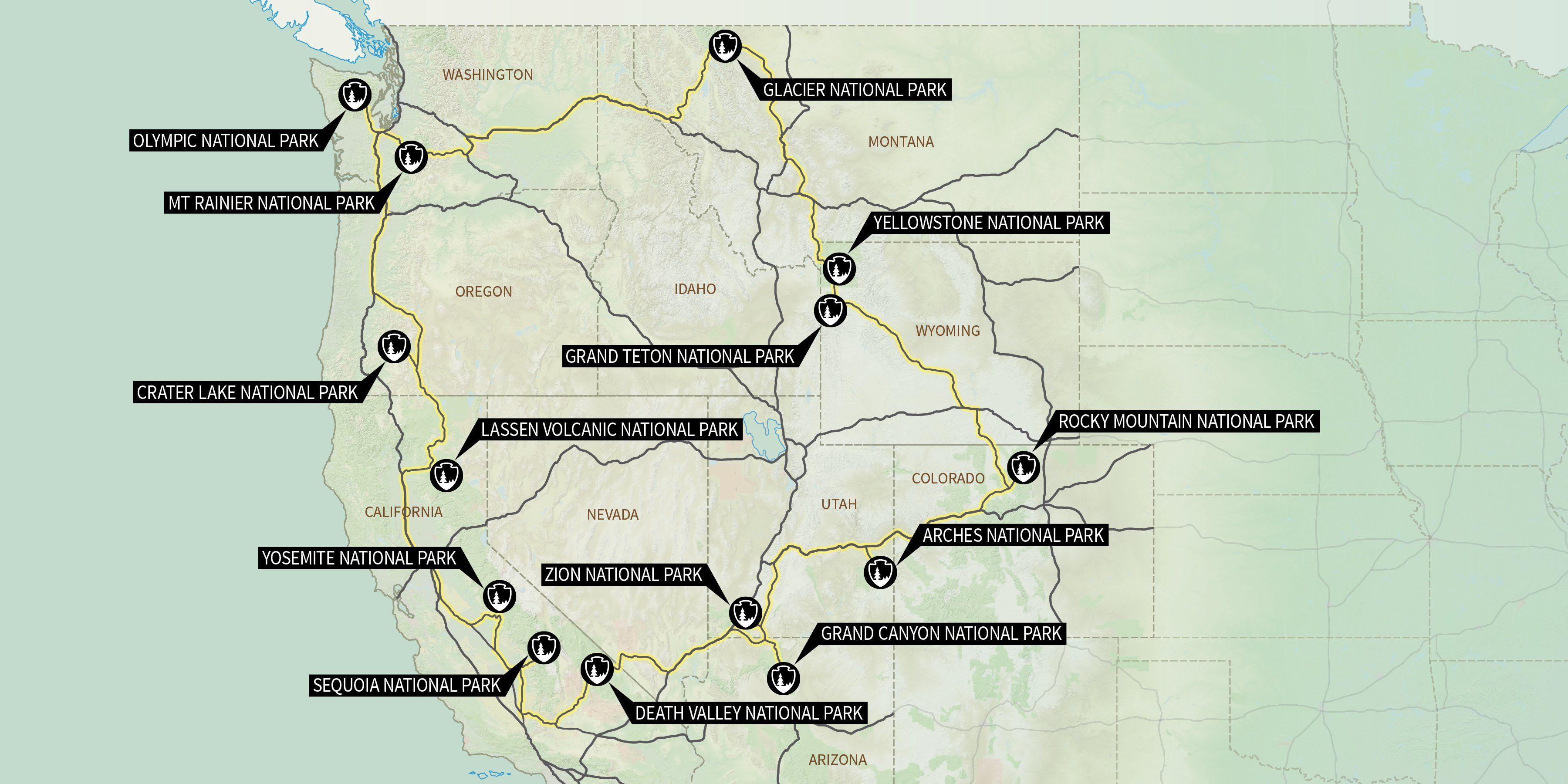 Our Country Boasts National Parks And Contained Within Are - Us national parks road trip map