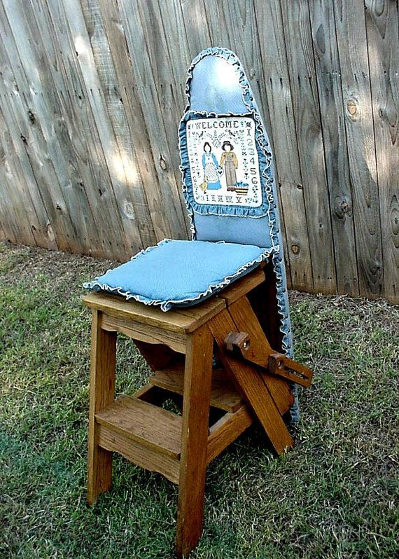 Oak Ironing Board Kitchen Step Stool Ladder Chair 3 in 1 Onit Jefferson  Bachelors Chair Rustic Home Decor itsyourcountry - Oak Ironing Board Kitchen Step Stool Ladder By ITSYOURCOUNTRY