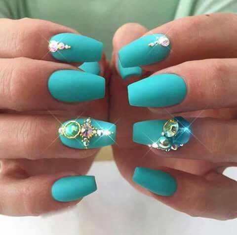 Short ballet tips with matte aqua color and crystal accents nail short ballet tips with matte aqua color and crystal accents acrylic nail designs prinsesfo Gallery