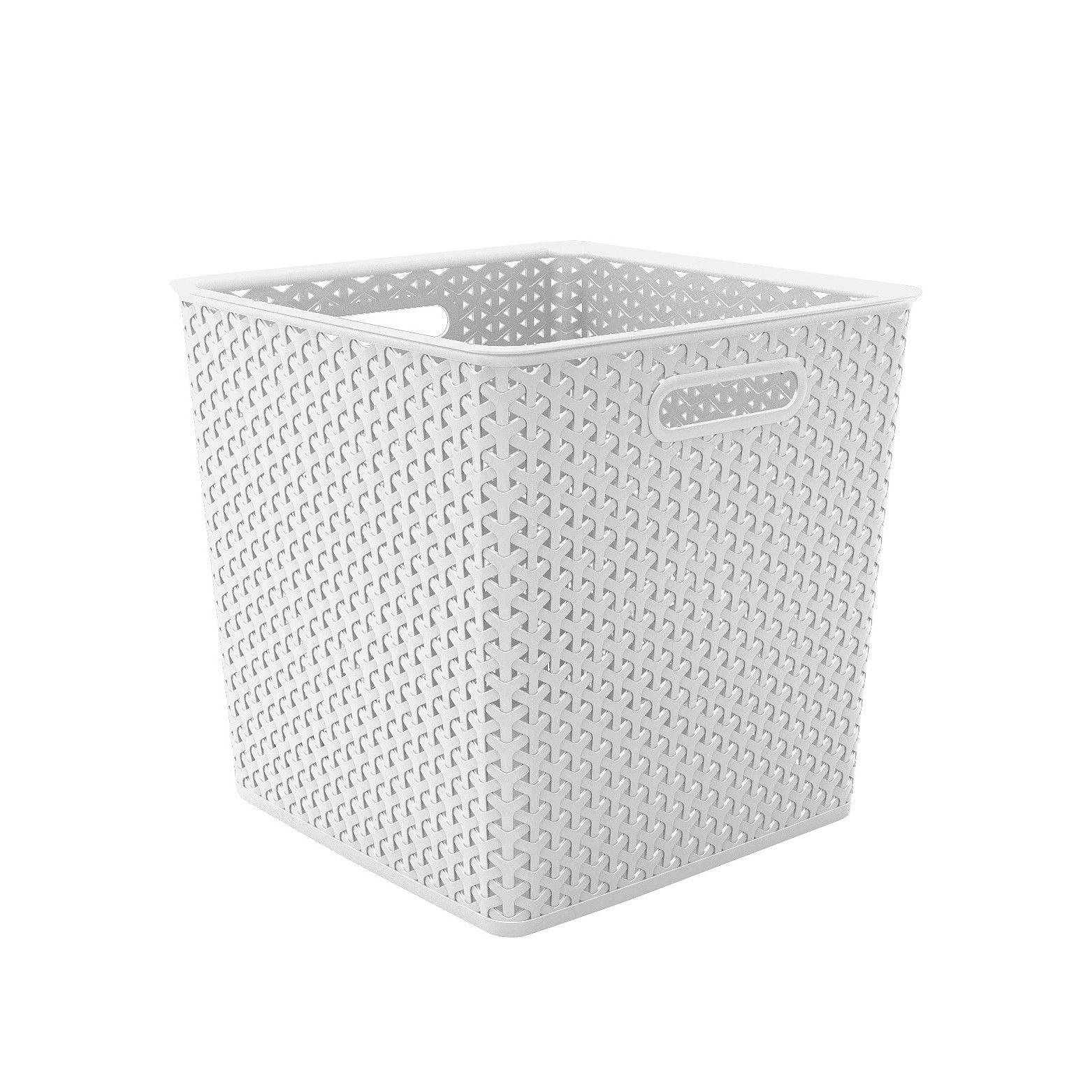 13 Y Weave Cube Storage Basket White Room Essentials Home