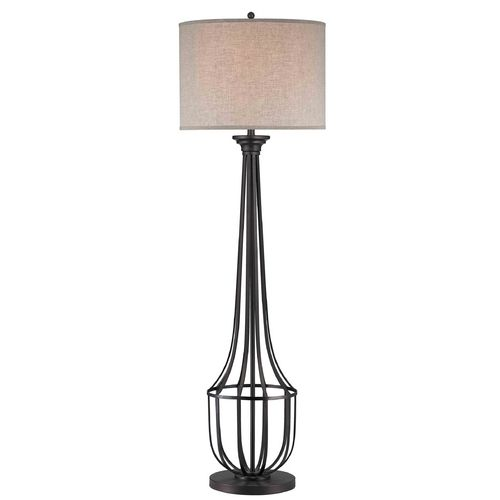 Lights · robust warm bronze 64 floor lamp with beige linen lamp shade