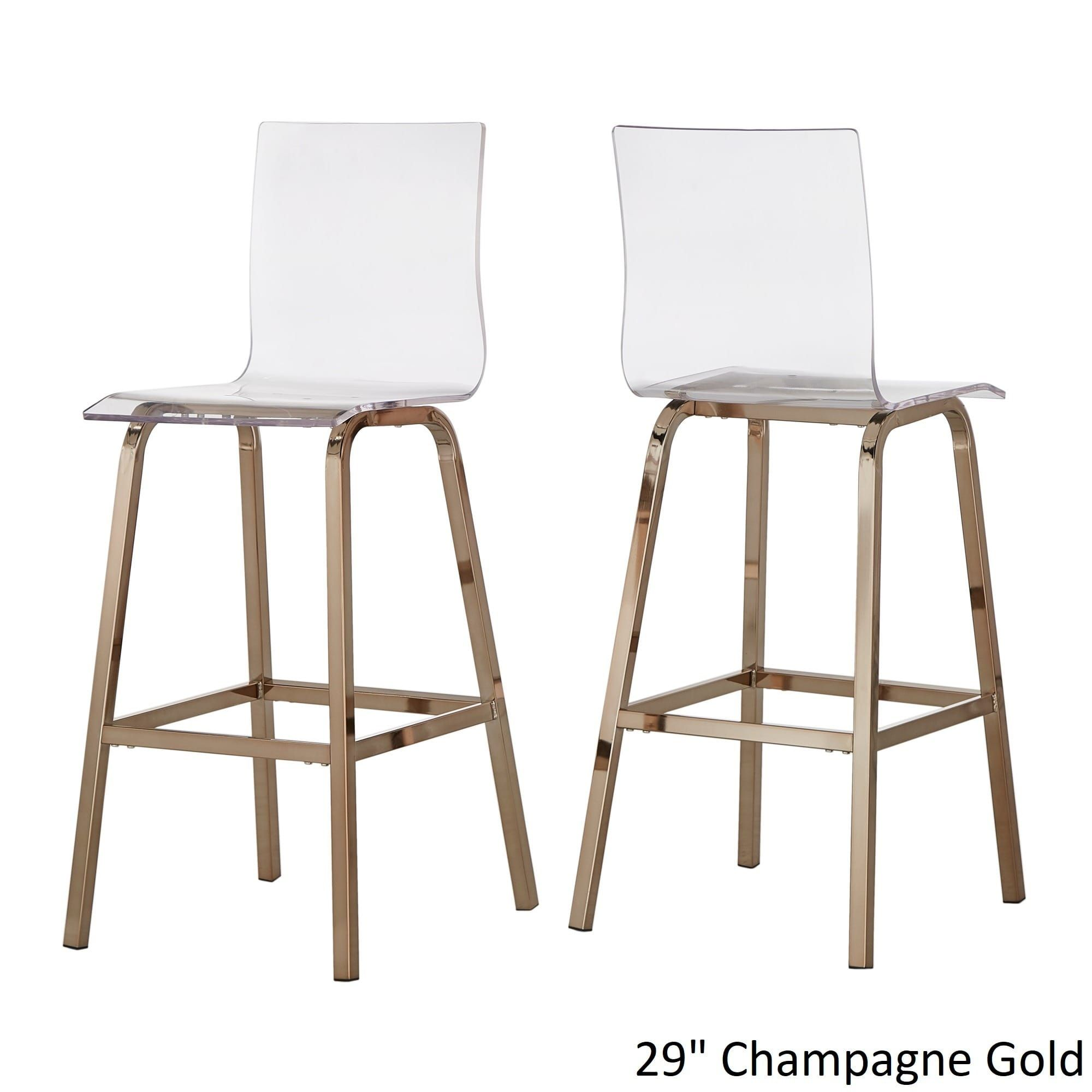 Inspire Q Miles Clear Acrylic Swivel Bar Stools (Set Of