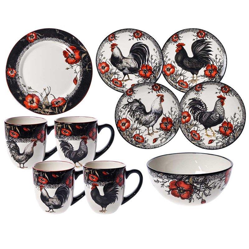 Stoneware Rooster 16 Piece Dinnerware Set Cracker Barrel Rooster Kitchen Decor Dinnerware Set Rooster Plates