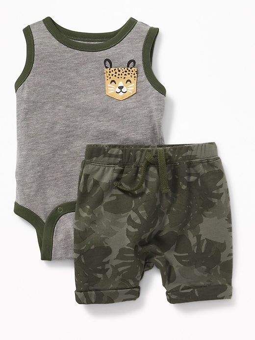 Cheetah Graphic Bodysuit Printed Shorts Set For Baby Baby Boy Clothes Summer Baby Boy Outfits Boys Summer Outfits