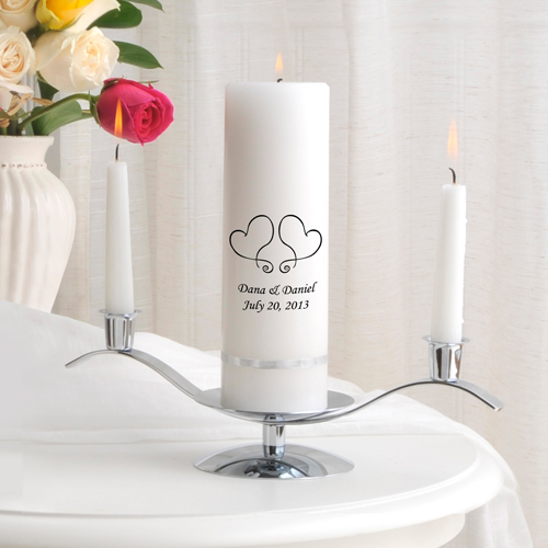 Two Hearts Designed Personalized Unity Candle With 6 Inch White Tapers And Silver Stand