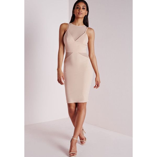 Missguided Crepe Strappy Mesh Insert Midi Dress Nude ($70) ❤ liked on Polyvore