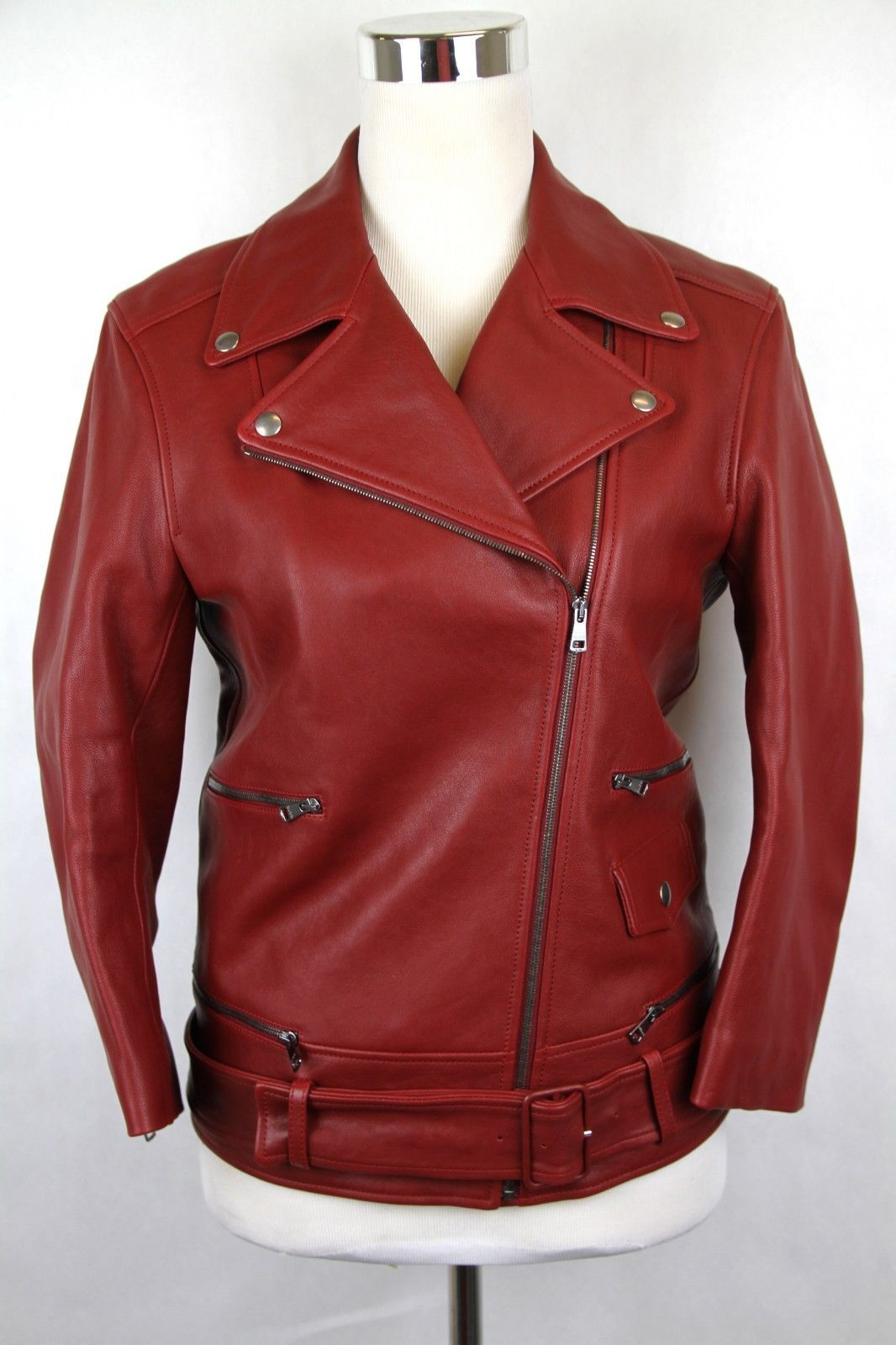 New Gucci Women's Red Biker Leather Jacket w/quilted