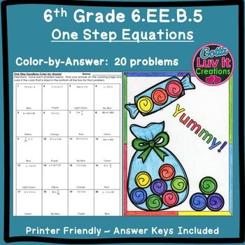 Math Coloring Pages 6th Grade : One step equations no negatives color by number coloring page