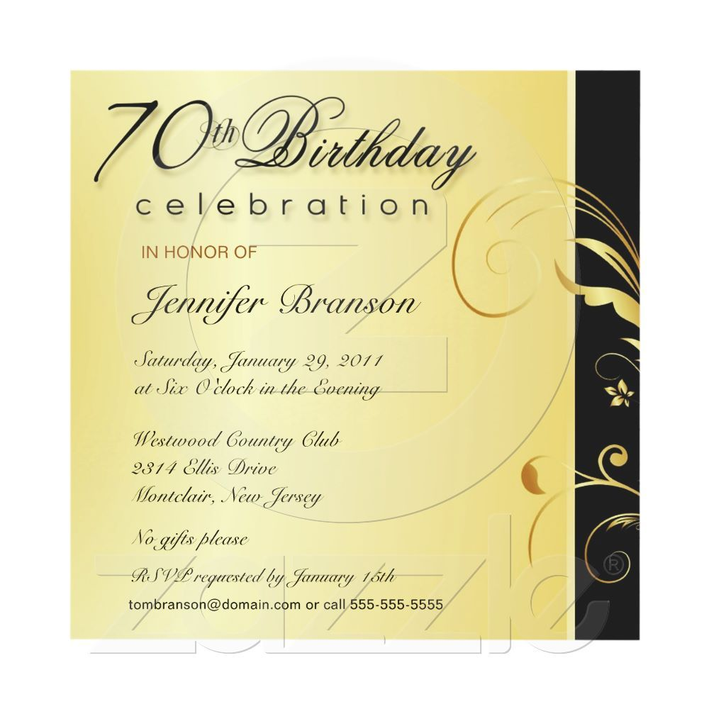 70th birthday adult elegant gold floral invites pinterest 70 mum said no presents presencepresents maybe and if we can encourage a thought or memory for those who arent coming address to come shortly stopboris Images