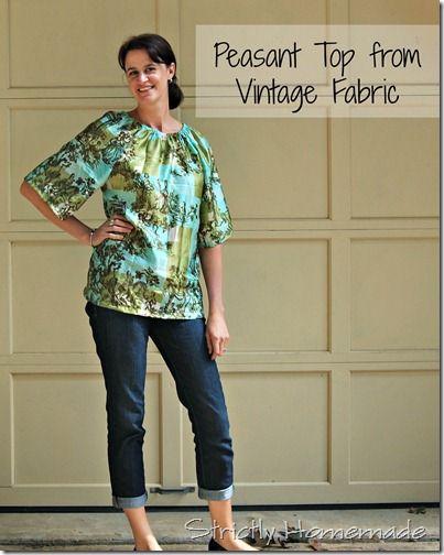 778bf9c502c9 Peasant Top Vintage Fabric | Free patterns | Peasant dress patterns ...