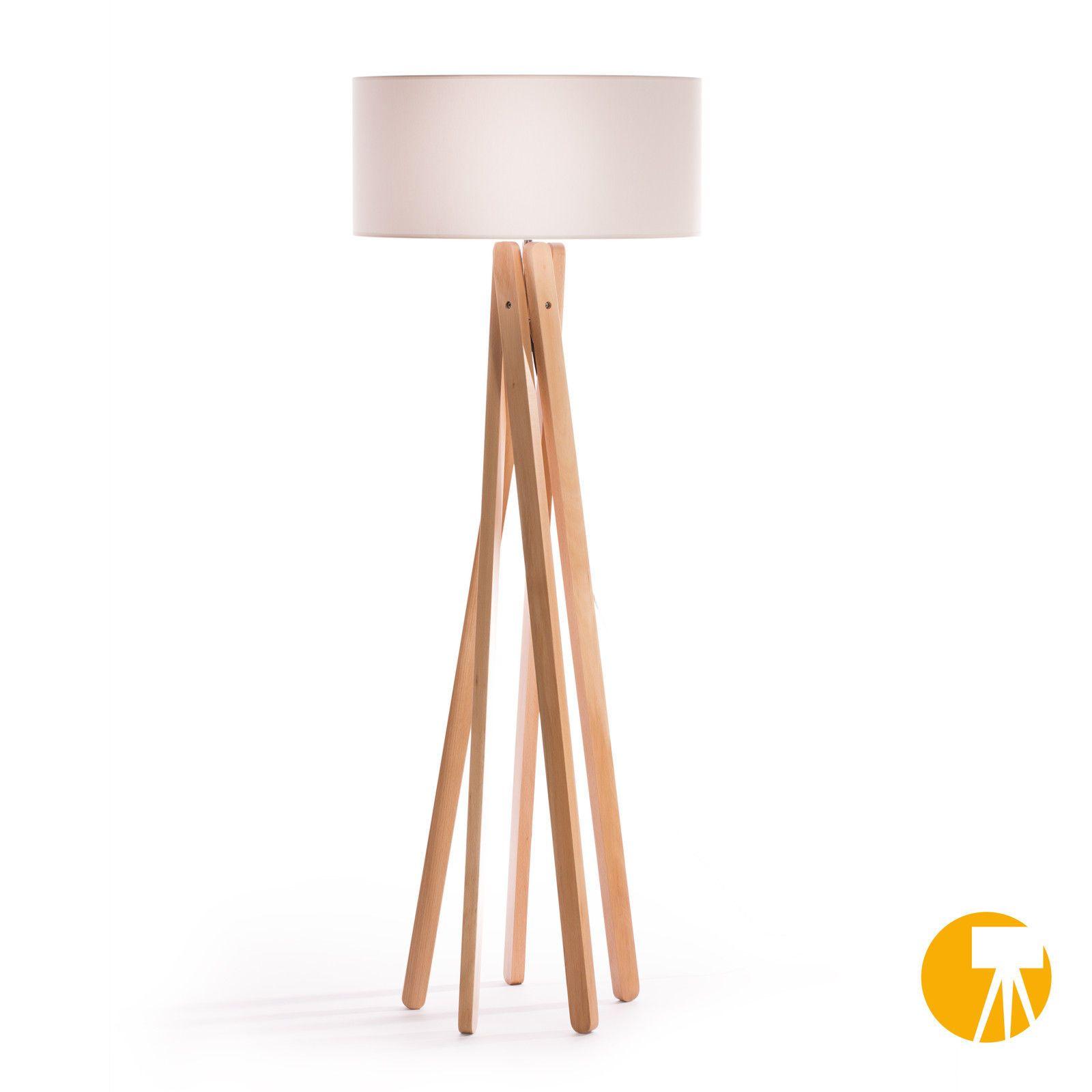 Design stehlampe tripod leuchte buche holz lampe h 160cm stativ stehleuchte wei for sale eur - Wohnzimmer lampe holz ...
