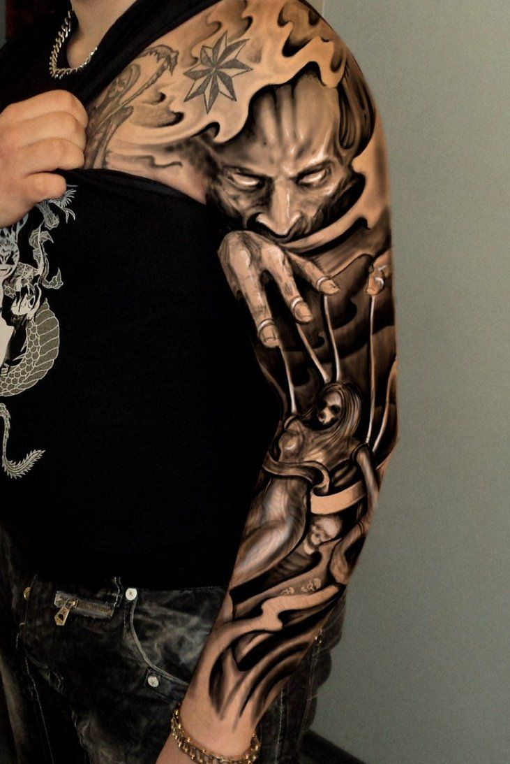 Japanese tattoo ideas for sleeve 3d chest tattoo 3d for 3d tattoos sleeves