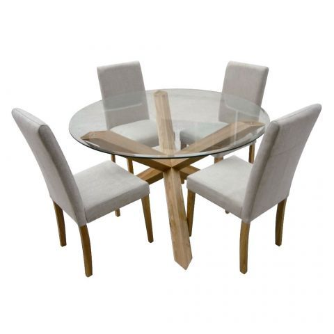 Hampton Oak 120cm Round Glass Dining Table With 4 Chairs Next Day Delivery