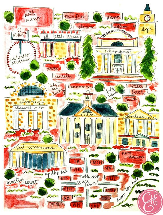 8.5 x 11 Davidson College Map Print | what the WHAT in 2019 ...
