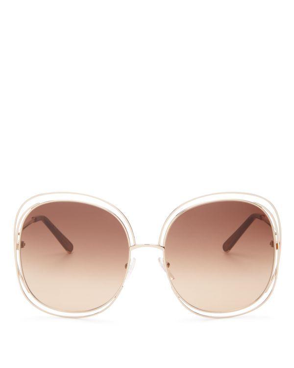 fd07d9e7 Chloe Carlina Square Oversized Sunglasses, 62mm   Made in Italy ...