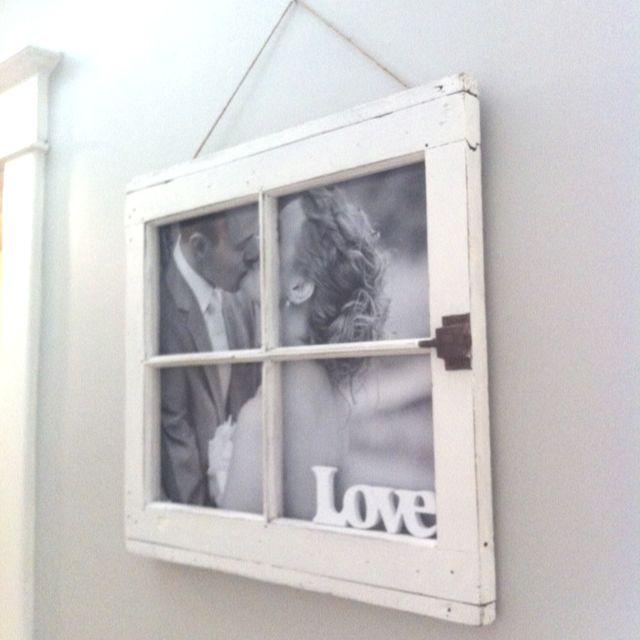 DIY window frame picture frame I made for Ellen for our 1 yr ...