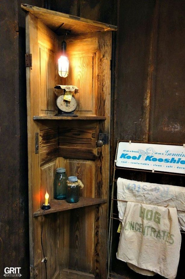 Diy Corner Door Shelf Old Wooden Doors Diy Wood Shelves Rustic Corner Shelf