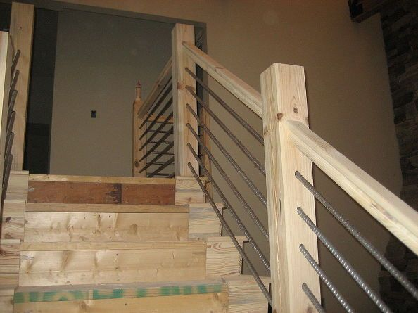 See The Way Stairs Are Finished Stairs Rebar Railing Cable Railing Rustic Stairs