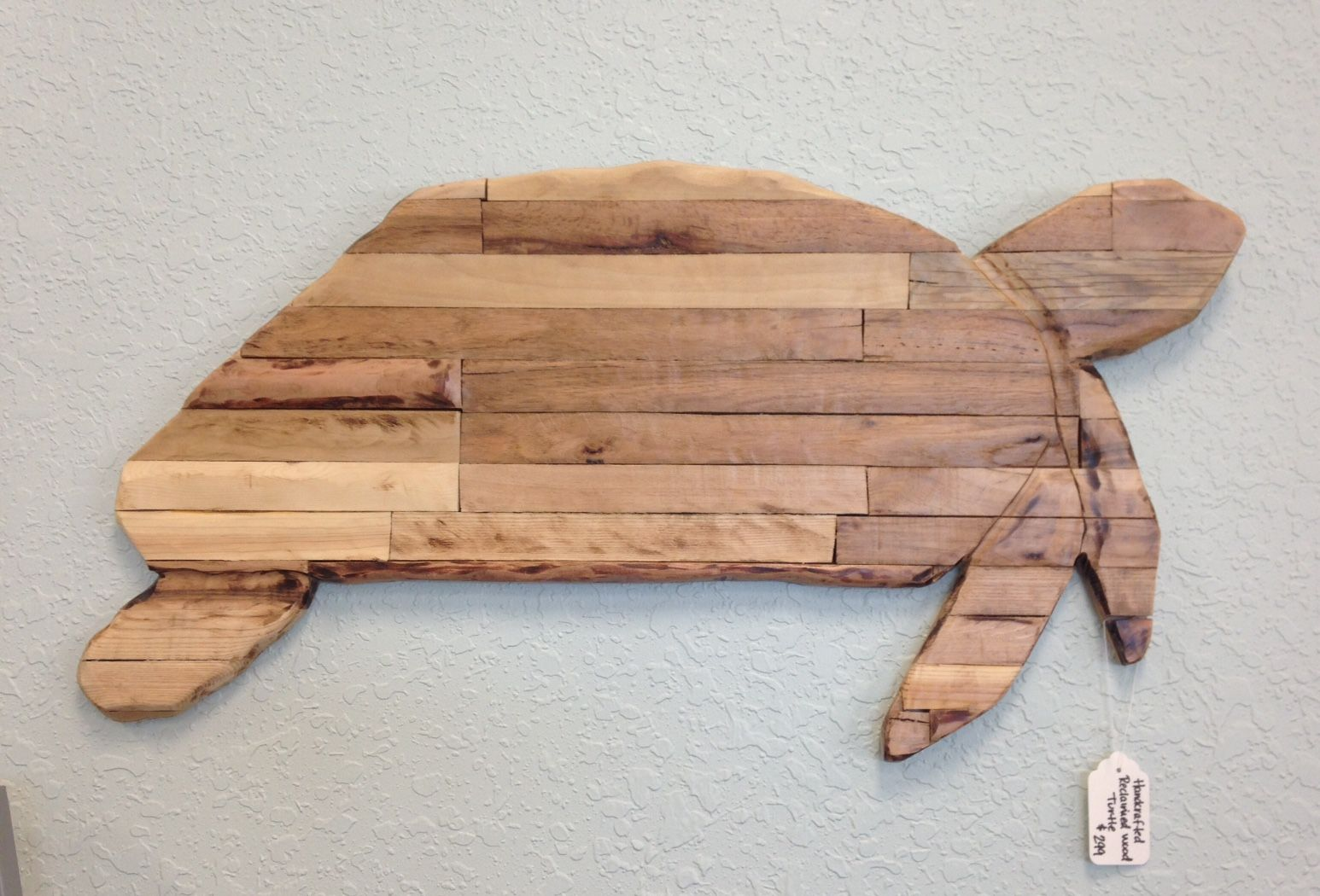 Reclaimed wood turtle made by local artist Chris McCrae