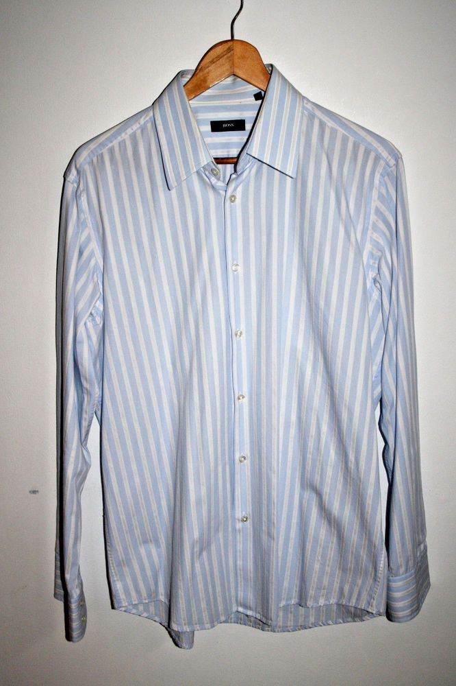 Hugo Boss Fashion Designer Striped White Blue Men's Shirt Cotton Casual 41  16 L | Hugo boss, Fashion designers and Casual shirts