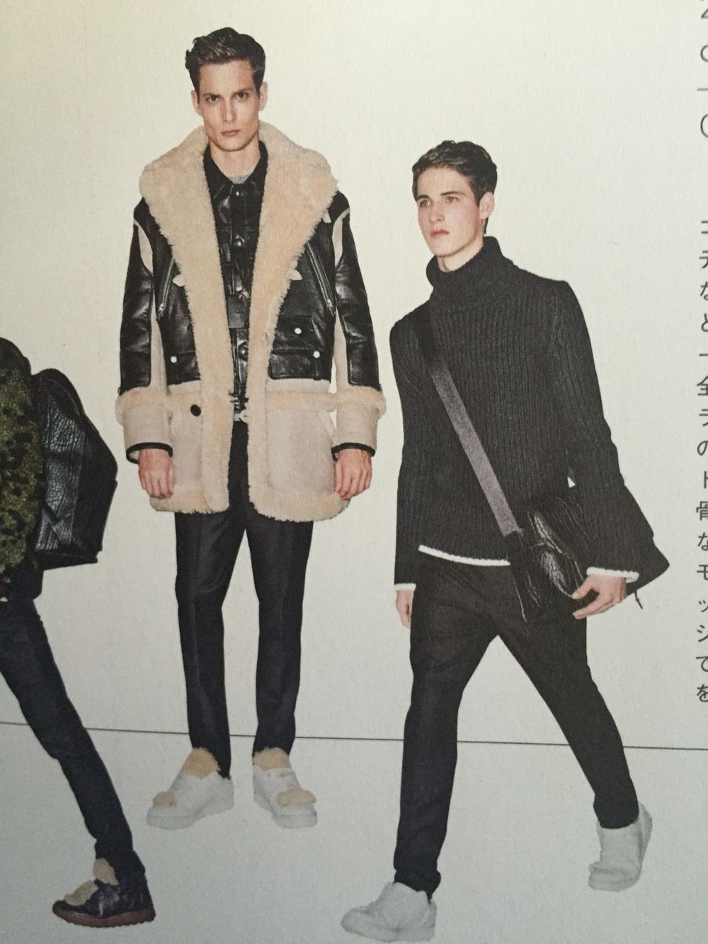 Mutton coat over leather \ turtle neck