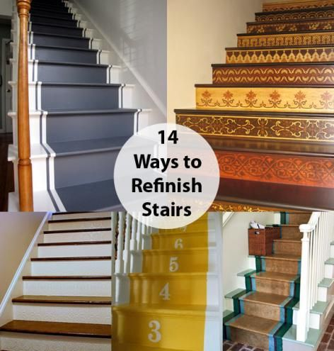 I Love The Textured Wallpaper Stairs (last Slide.) Step By Step: 14 Ideas  For Refinishing Stairs