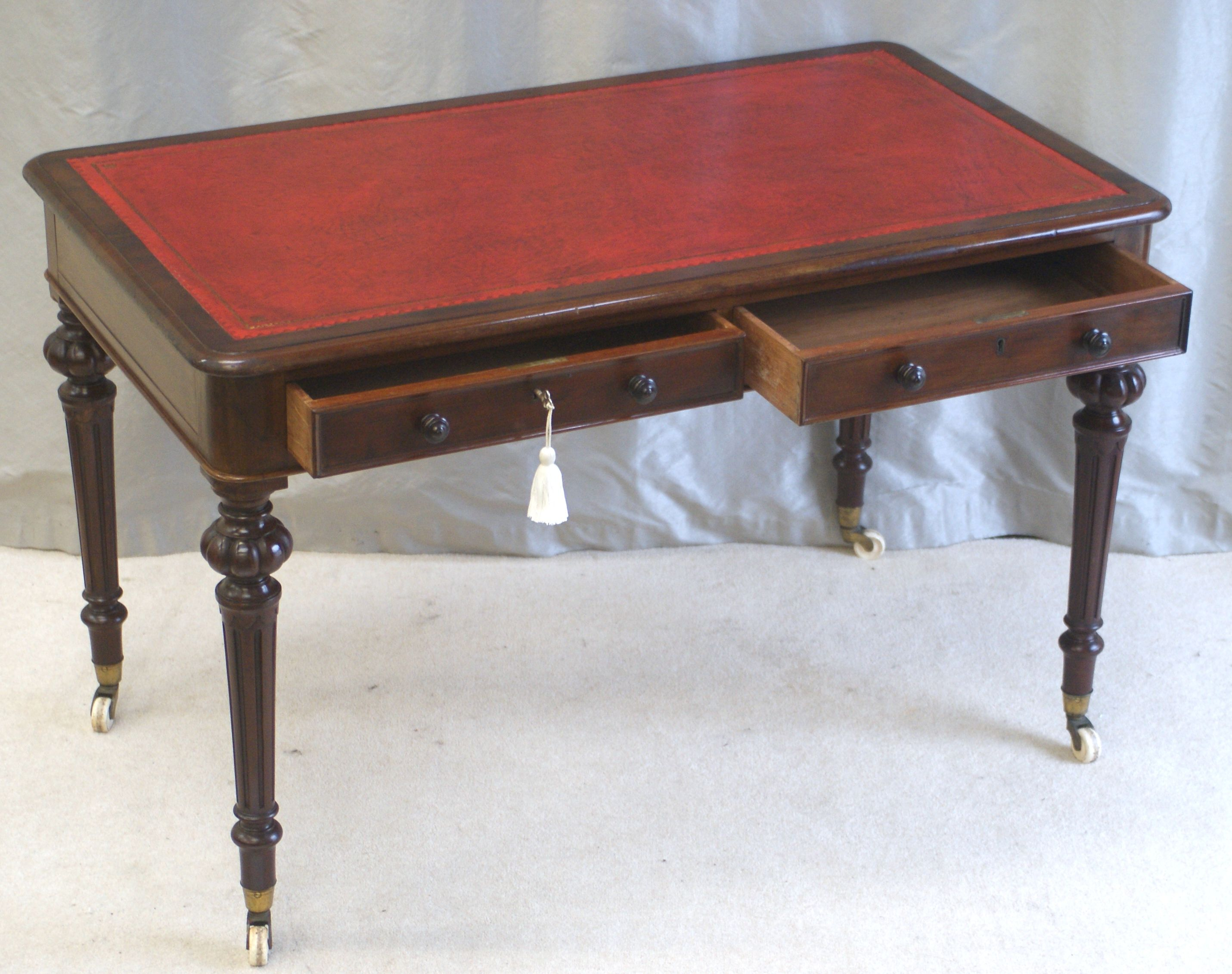 Antique Victorian Mahogany Twin Drawer Writing Table By Heal U0026 Sons London  (stamped).
