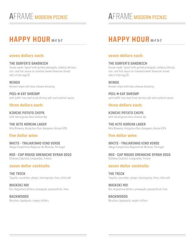 A-Frame Restaurant Happy Hour Menu | City of Angels | Pinterest ...