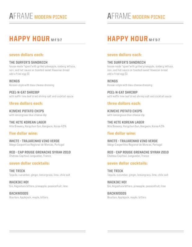 A-Frame Restaurant Happy Hour Menu | City of Angels | Pinterest