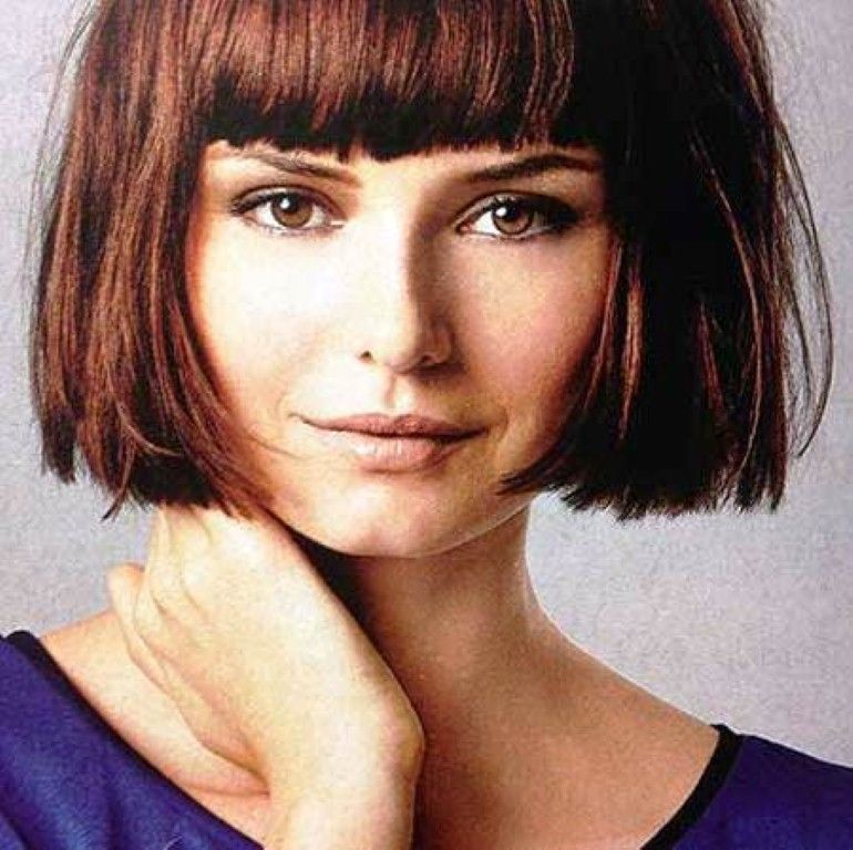 Short Symmetrical Super Short Bob Haircuts Pictures With Heavy Bangs