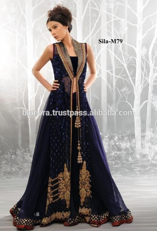 gown style Embroidered long shirt party wear BE-M79 | dress ...
