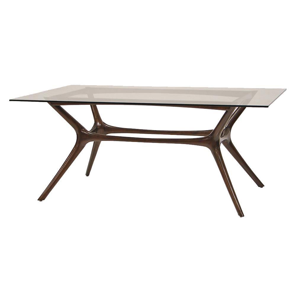 Copenhagen Mid Century Modern Mahogany Glass Dining Table | Kathy Kuo Home