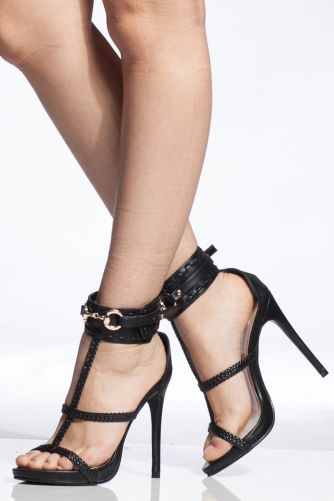 0115df2968 Black Faux Leather Caged Ankle Strap Heels | Style in 2019 | Ankle ...
