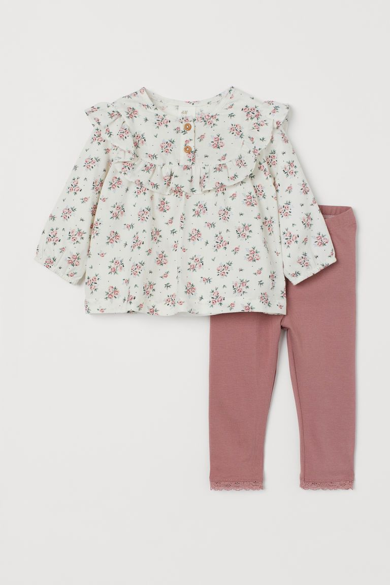 Volantbluse Und Leggings Weiss Geblumt Kids H M De Toddler Designer Clothes Dresses Kids Girl Baby Girl Fashion