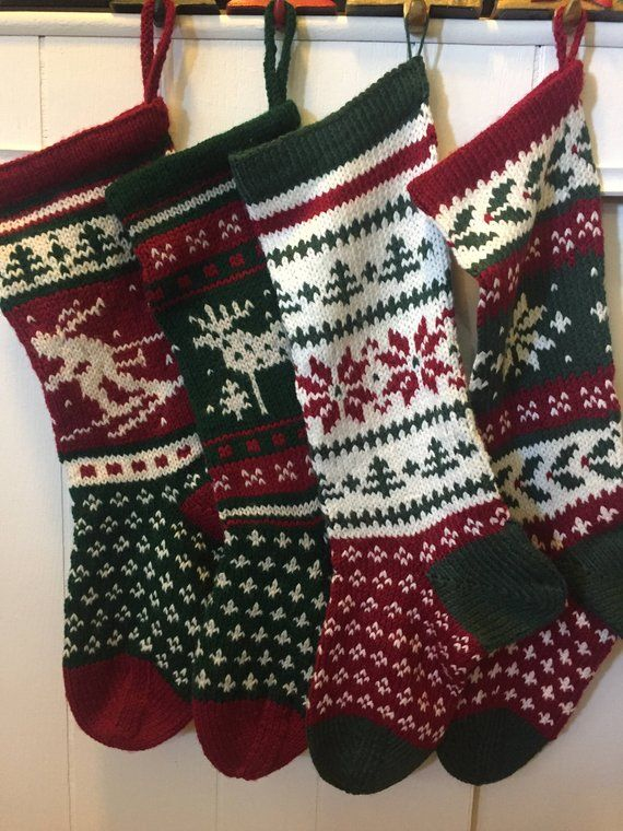 Hand Knit Christmas Stockings   Knitted christmas ...