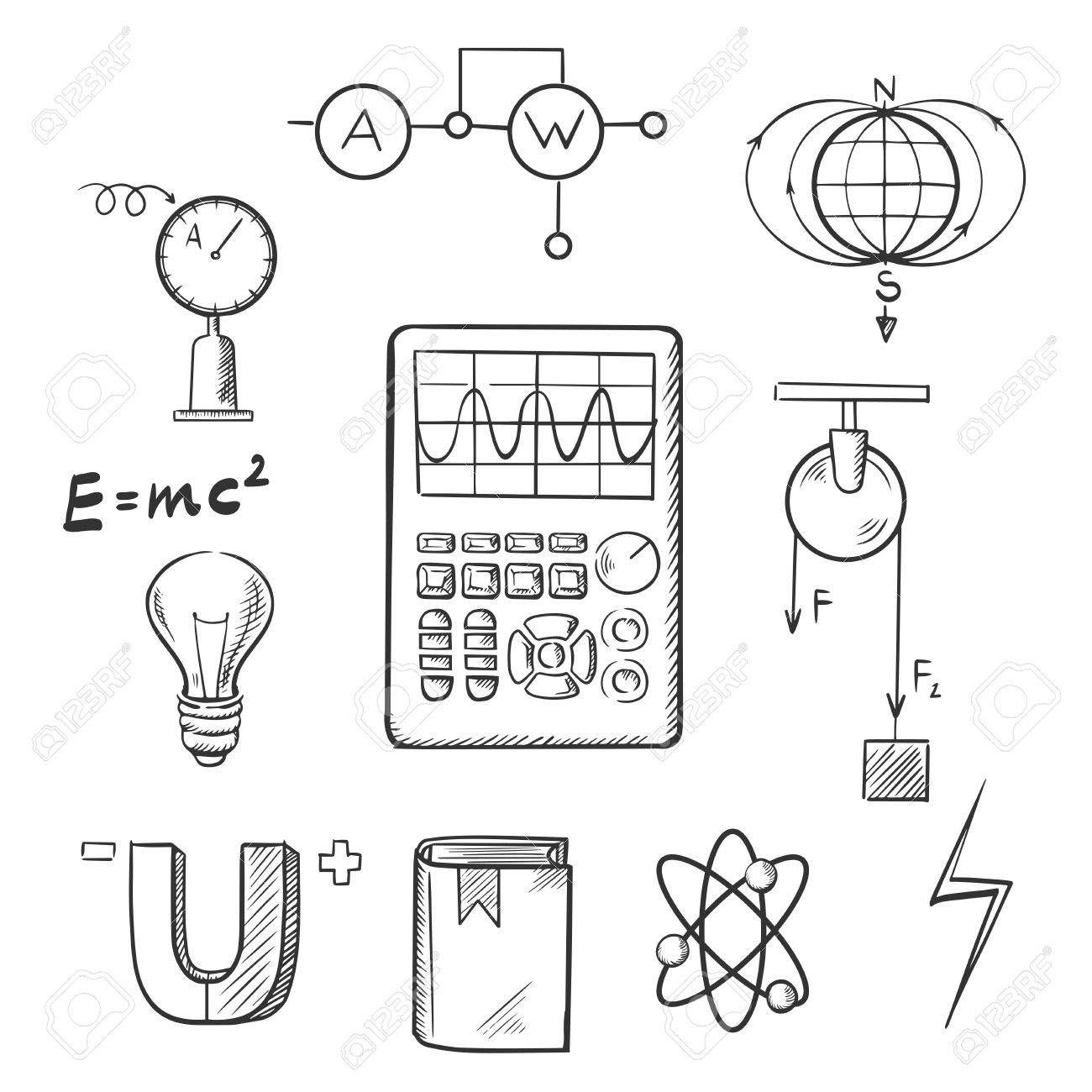 Iconos De Dibujo Ciencia Establecidos Con Los Simbolos De La Fisica Tales Como Iman Energia Electr Portadas De Fisica Portadas Para Fisica Imagenes De Fisica