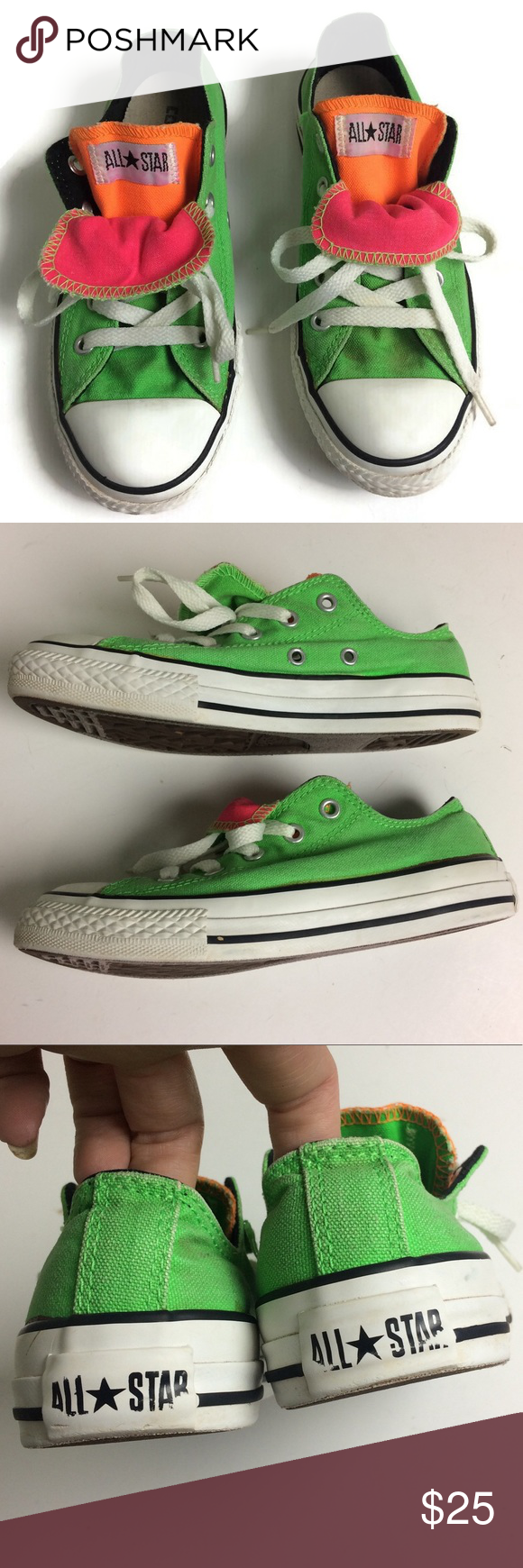 Converse Allstar Double Tongue Neon Low Top Size 1 Converse