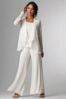 953aca33915a Pantalon costume Encolure Dégagée Longueur Cheville Chiffon Dentelle Robe de  Mère de Mariée