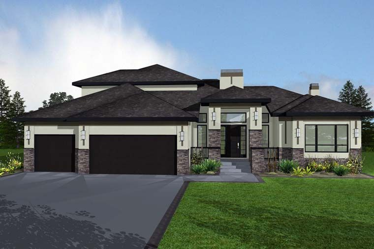 Bungalow Style House Plan 81139 With 5 Bed 4 Bath 3 Car Garage Prairie Style Houses Bungalow Style House Plans Bungalow House Plans